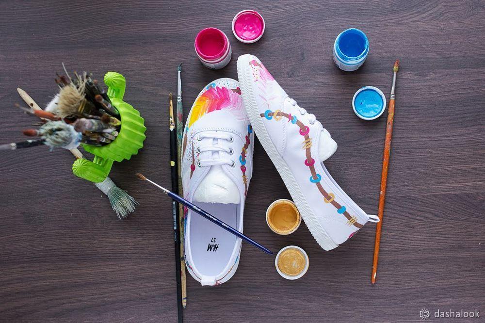 Изучаем тонкости росписи кед акриловыми красками по ткани, фото № 6