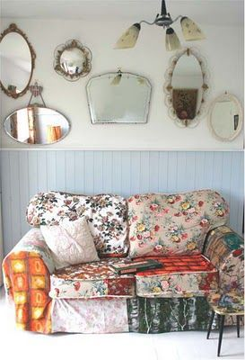 Well, of course I love the sofa! And the mirror arrangement is just too perfect not to imitate.