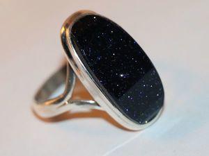 Кольцо серьги с синим авантюрином. Ярмарка Мастеров - ручная работа, handmade.
