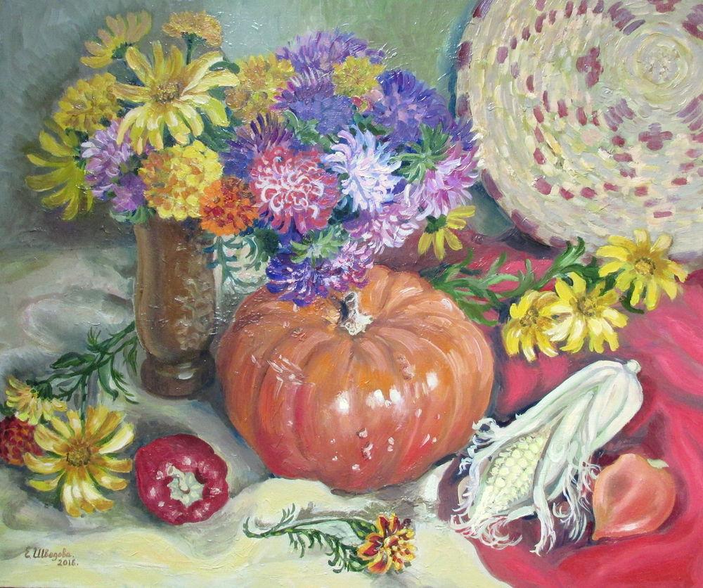 чёрная пятница, скидка 20%, картина, натюрморт маслом, натюрморт с цветами, авторская картина, яркий, тыква, оранжевый, картина купить, купить со скидкой, купить в москве, картина для настроения, ярмарка мастеров