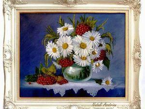 Картина маслом. Ромашки в стеклянной вазе. Новая работа в моем магазине.. Ярмарка Мастеров - ручная работа, handmade.