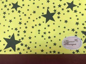 Звезды на желтом. Футер 2-х нитка набивной с лайкрой. Ярмарка Мастеров - ручная работа, handmade.