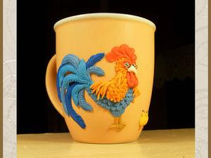 Украшаем кружку ярким петухом и цыплятами из полимерной глины. Ярмарка Мастеров - ручная работа, handmade.
