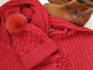 Аукцион на огромный шарф и шапку с помпоном из итальянской альпаковой шерсти!Старт 3200!. Ярмарка Мастеров - ручная работа, handmade.