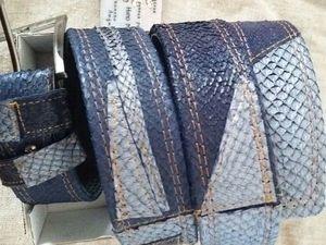 Аукцион  Мужской ремень.,, WALRUS ,,   из натуральной кожи рыбы СЁМГА. Ярмарка Мастеров - ручная работа, handmade.