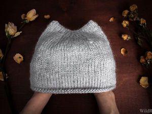 Видеоурок: вяжем спицами шапку с ушками. Ярмарка Мастеров - ручная работа, handmade.