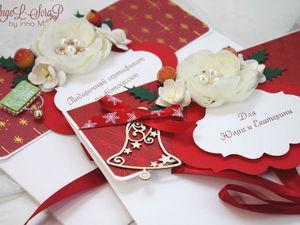 Новогодние подарочные сертификаты в конверте. Ярмарка Мастеров - ручная работа, handmade.