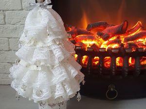 Делаем кружевную елочку для новогоднего декора. Ярмарка Мастеров - ручная работа, handmade.