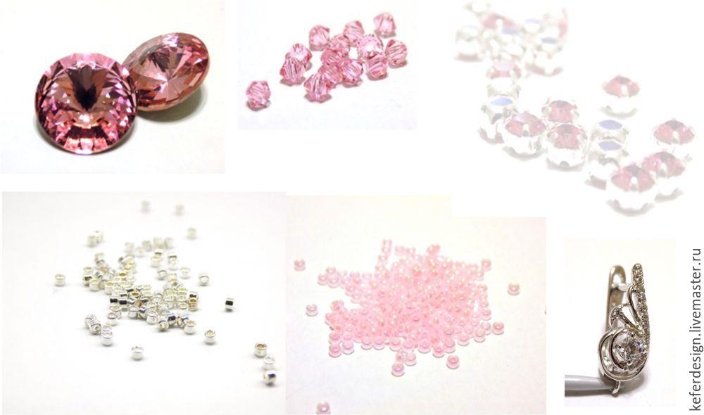 Серьги ручной работы «Цветущая сакура» из кристаллов Swarovski: процесс создания, фото № 3