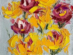 Аукцион Картина маслом Летние цветы 47/23см. Ярмарка Мастеров - ручная работа, handmade.