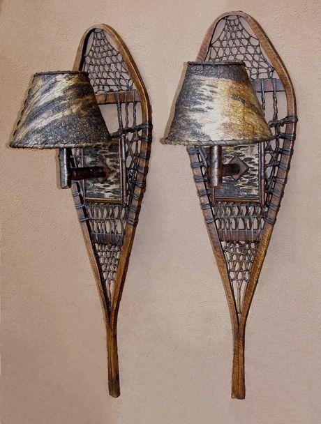 Antique snowshoe sconces