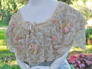 Атласное платье 1912 года с кружевным воротником Bertha и вышивкой Point de Beauvais. Ярмарка Мастеров - ручная работа, handmade.