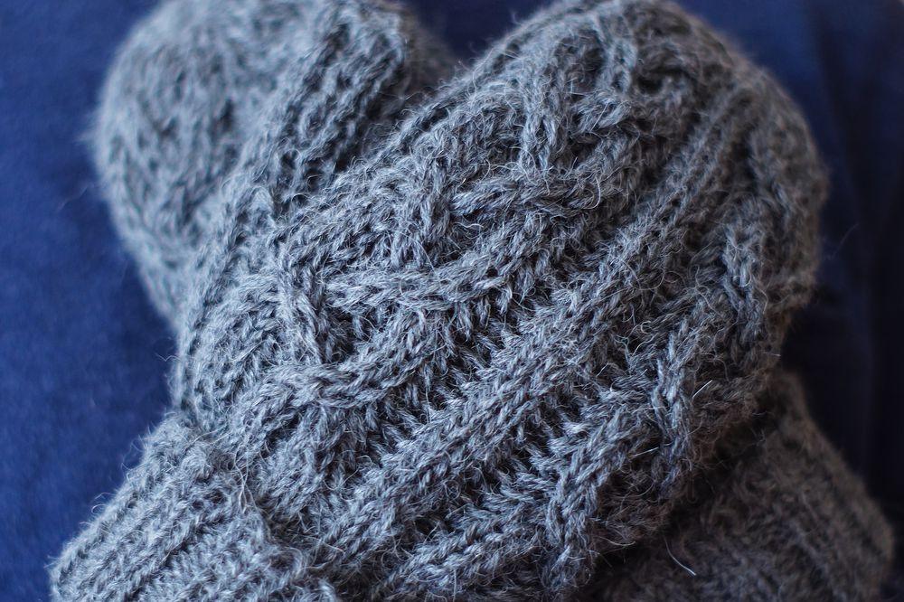 варежки вязаные, тёплые варежки, синий, зимние рукавицы, альпака