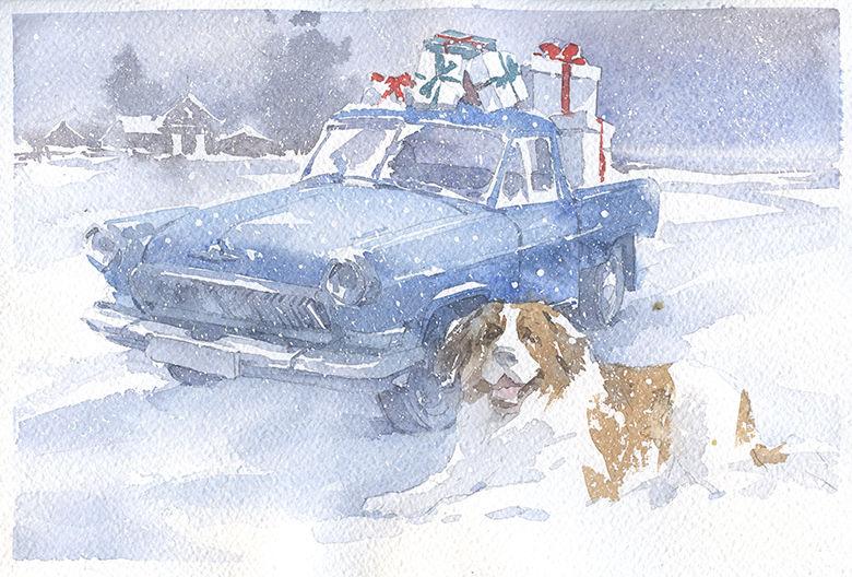 картина на открытке, коллекционная открытка, акварель собака