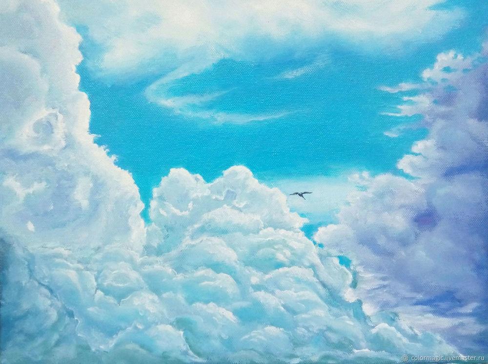 того, небо с облаками рисунок гуашью наклонена