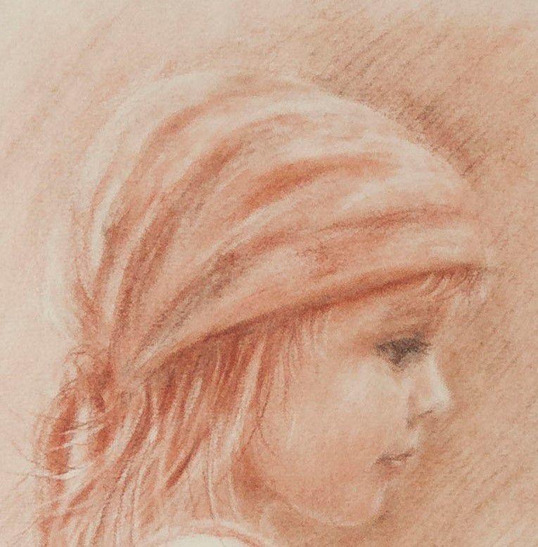 скидка на новинку, портрет сангина, нежный портрет, дитя