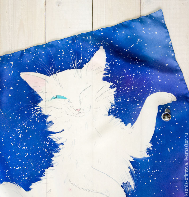 подарок к новому году, шёлковый платок, шарф батик