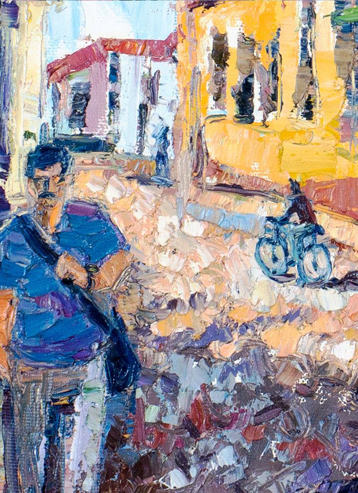 картина мастихином, летний пейзаж в подарок, тринидад куба, город картина, оранжевый, анна крюкова