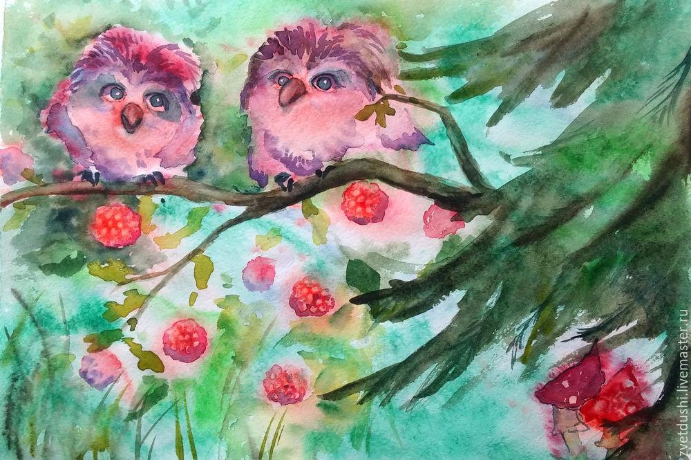 Интуитивная акварельная  живопись и ее «последствия»: совиная история, фото № 9