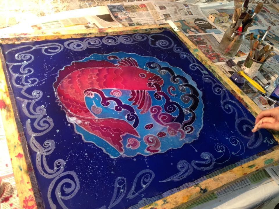 мастер-классы по батику, роспись по шёлку, шелк свободная роспись, роспись шелка, батик обучение
