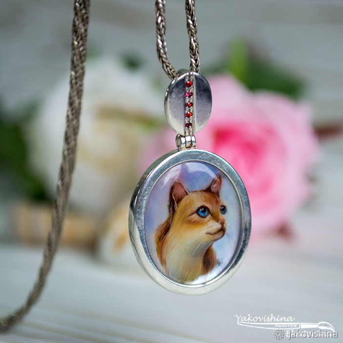 cat, paintings with cats, silver jewelry, miniature decoration, the process of creating a pain, create a pendant