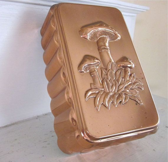 Vintage Copper Mold  Mushrooms  Jello Pudding Aspic by fishlegs, $27.00