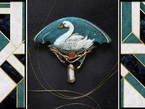 """Новая работа: брошь """"Swanhild """"/ """"Сванхильд"""". Ярмарка Мастеров - ручная работа, handmade."""