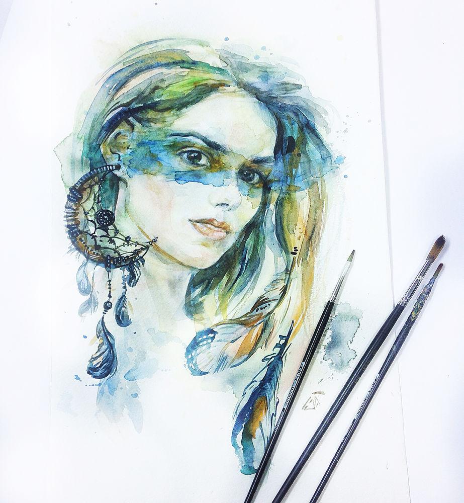 портрет, акварельная картина