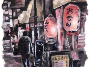 День 103. Этюд по фото  «Японская улица». Ярмарка Мастеров - ручная работа, handmade.