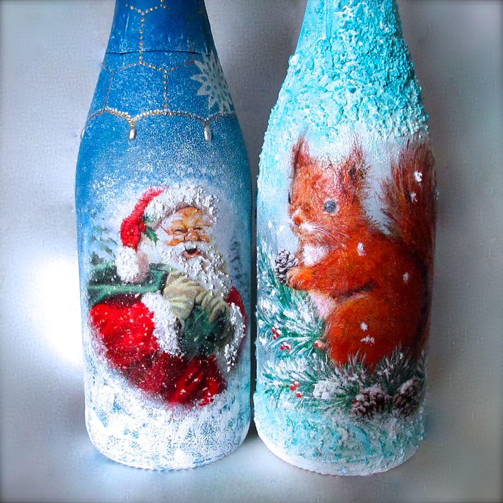 декор бутылки, новогодний декор