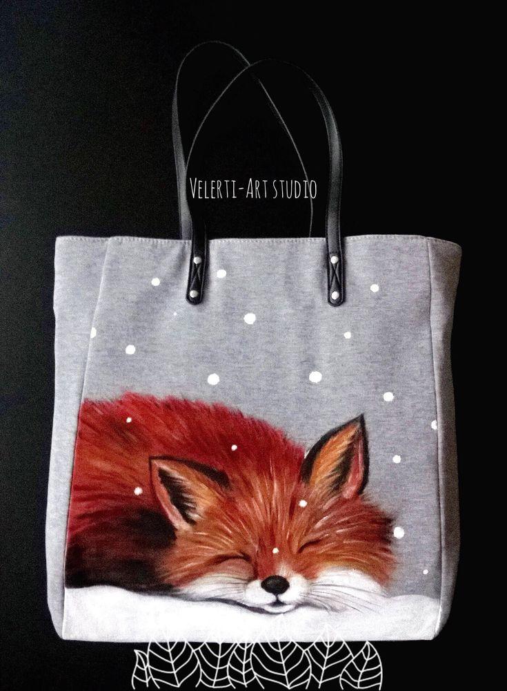 аукцион, аукционы, сумки, сумка текстильная, ручная роспись, лисы, лисички, снег, подарки на новый год, для девушек