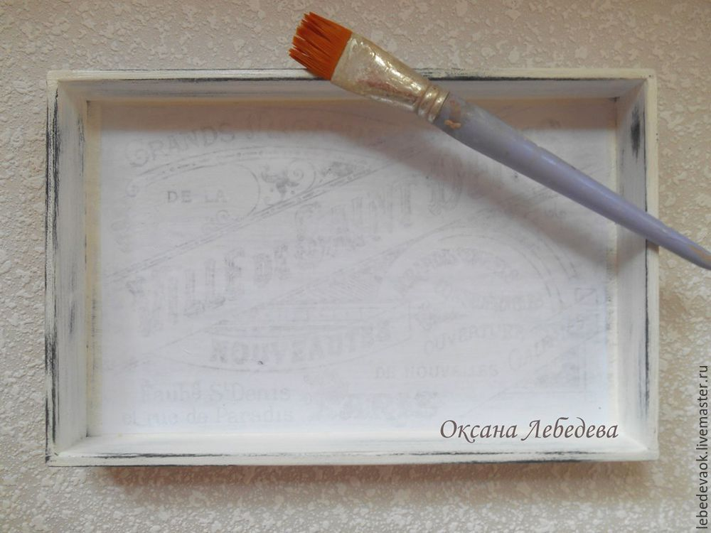 Decorating a Wooden Tray in the French Vintage Style, фото № 8