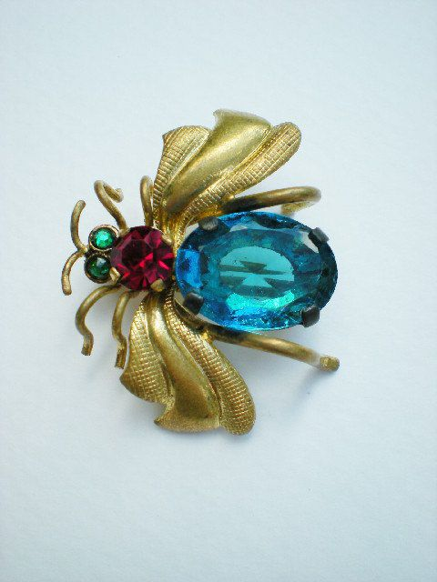 The Bee's Reverie  Queen Bee - antique Czech brooch in emerald, red, and blue