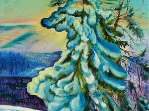 Пишем зимний пейзаж маслом. Ярмарка Мастеров - ручная работа, handmade.