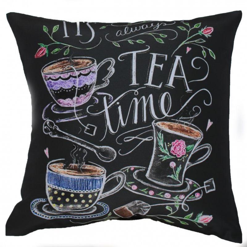 декоративная подушка, красивый декор, надписи на текстиле, чай
