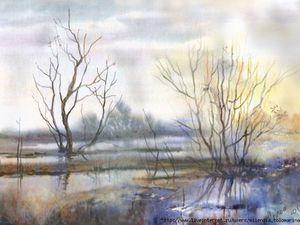 Акварельный пейзаж в технике шерстяной живописи. Вебинар. | Ярмарка Мастеров - ручная работа, handmade