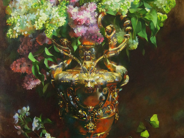 Painting Lilac in a Golden Vase in the Layered Flemish Technique | Livemaster - handmade