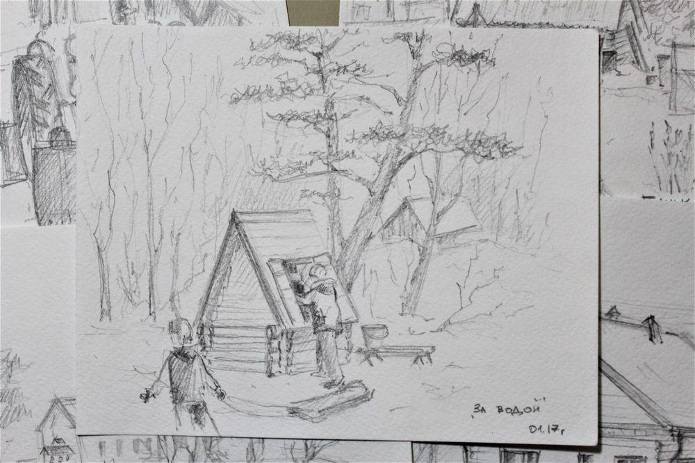 деревня, дерево