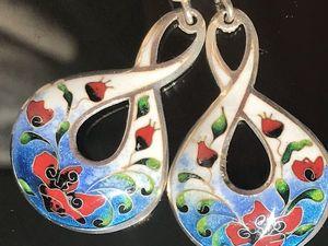 Серьги Маки серебро эмаль. Ярмарка Мастеров - ручная работа, handmade.