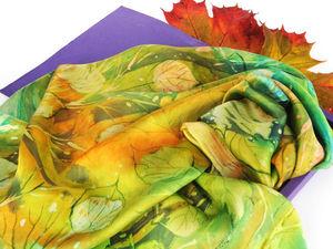 Расписываем платок «Листопад» в технике горячий батик. Ярмарка Мастеров - ручная работа, handmade.