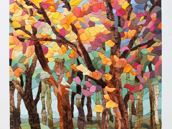 «Осенний лес»: картина в технике пэчворк без иглы | Ярмарка Мастеров - ручная работа, handmade