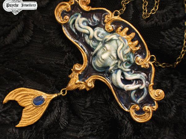 Young Poseidon.Кулон из полимерной глины.Готовая работа   Ярмарка Мастеров - ручная работа, handmade