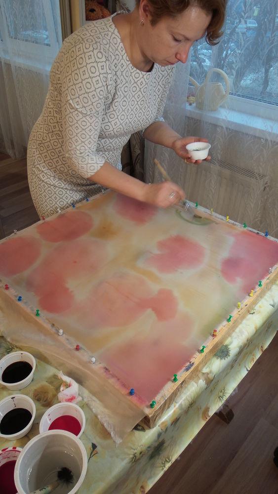 мастер-класс, батик платок, техника свободной росписи