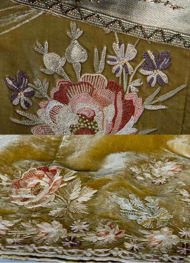 Вечерний ансамбль из бархата с тамбурной вышивкой: Франция, 1888-1889 годов