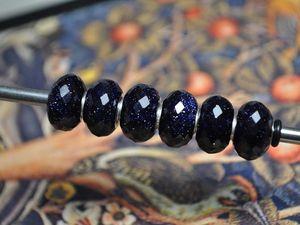 """Искусственный синий """"звездный"""" авантюрин для Pandora и Trollbeads в наличии. Ярмарка Мастеров - ручная работа, handmade."""