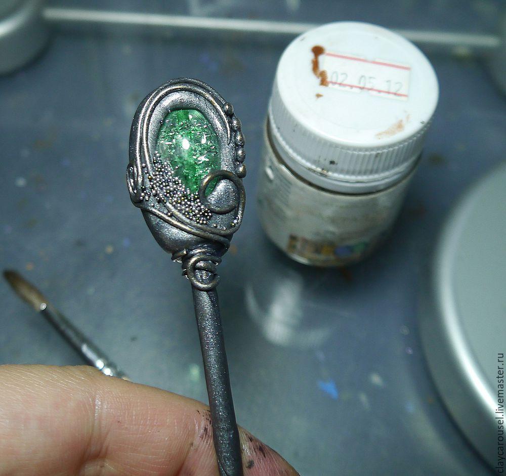 Шпильки из полимерной глины мастер класс поделка #3