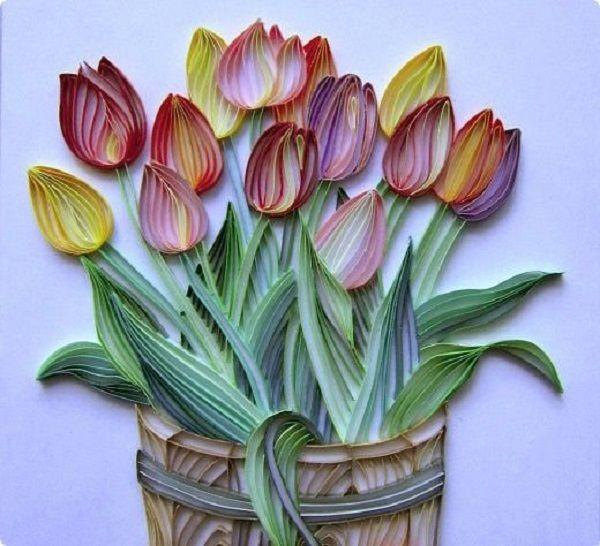 Квиллинг тюльпаны открытки