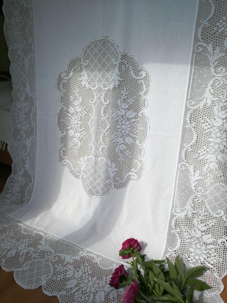 скатерть крючком, свадебный стол
