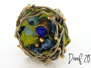 Кольцо  «Гнездо синей птицы». Ярмарка Мастеров - ручная работа, handmade.