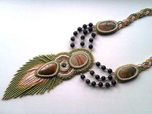 Аукцион на шикарный длинный вышитый бисером кулон с натуральными яшмами — закрыт. Ярмарка Мастеров - ручная работа, handmade.